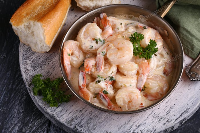 Prawns with Cream Sauce