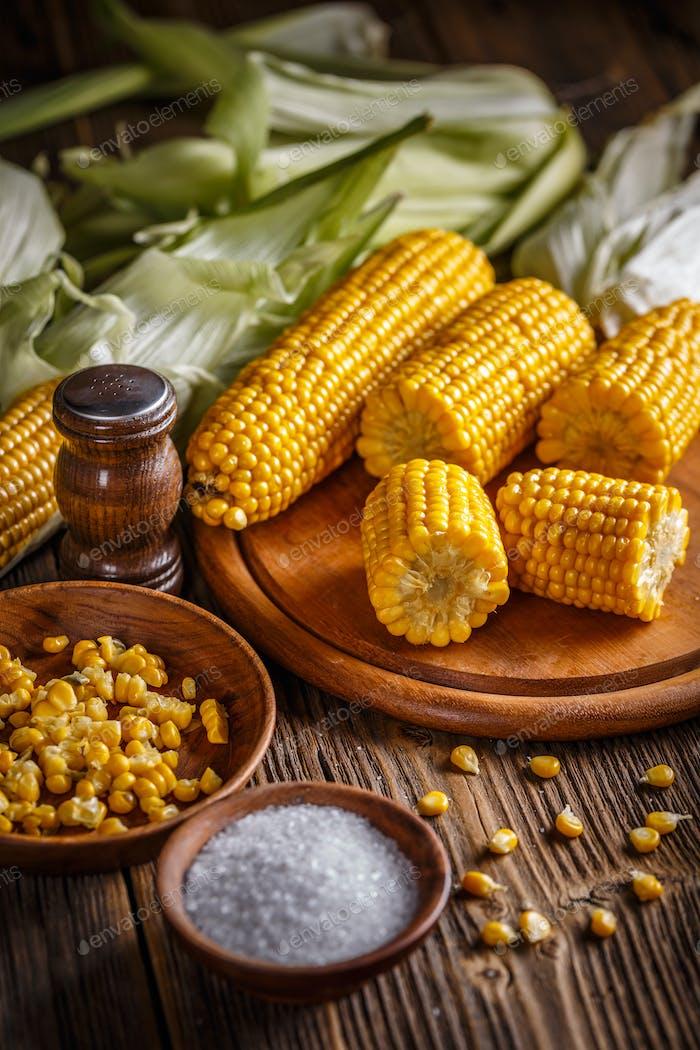 Homemade golden corn cob