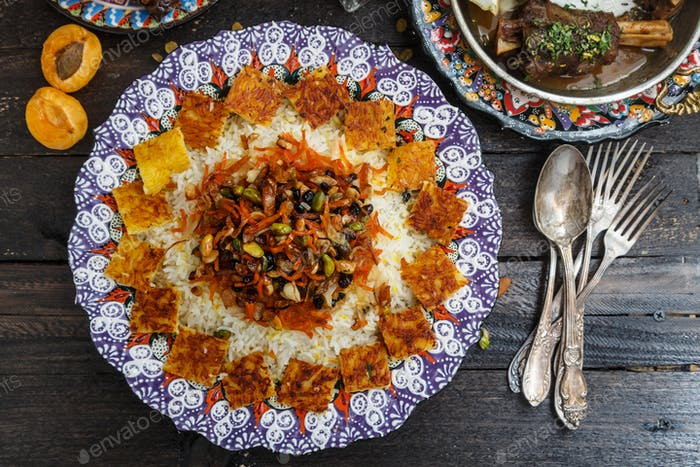 Jeweled rice close view, iranian pilaf with tahdig