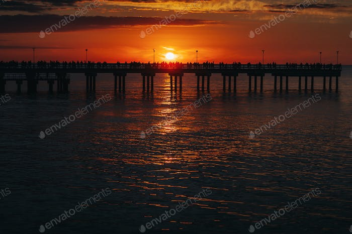 sunset on the pier in Palanga, Baltic sea
