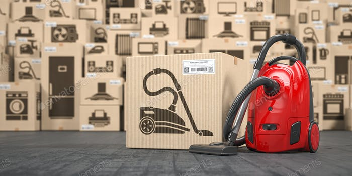 Vacuum cleaner in warehouse with household appliances