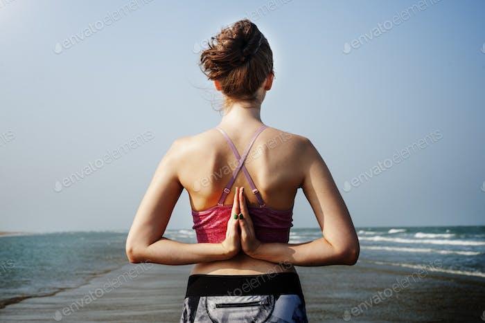 Yoga Zen Beach Balance Energy Concentration Concept