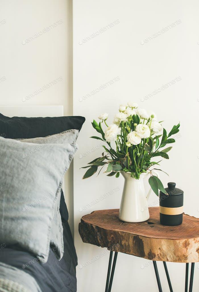 Trendy Scandinavian style bedroom interior