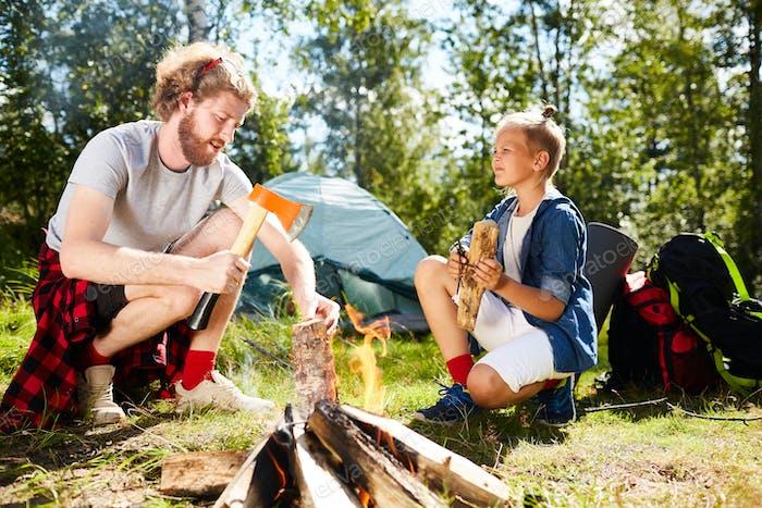 Scouts preparing firewoods