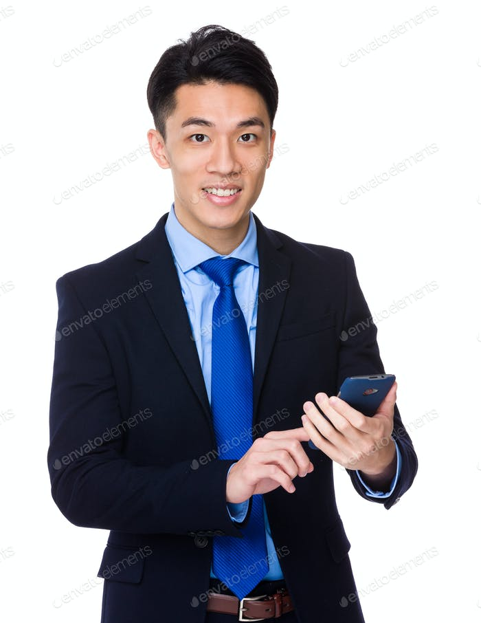 Asian businessman use of smartphone