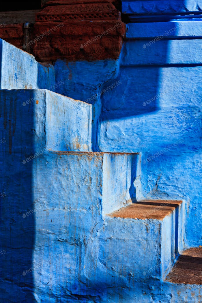 "Stairs of blue painted house in Jodhpur, also known as ""Blue Cit"