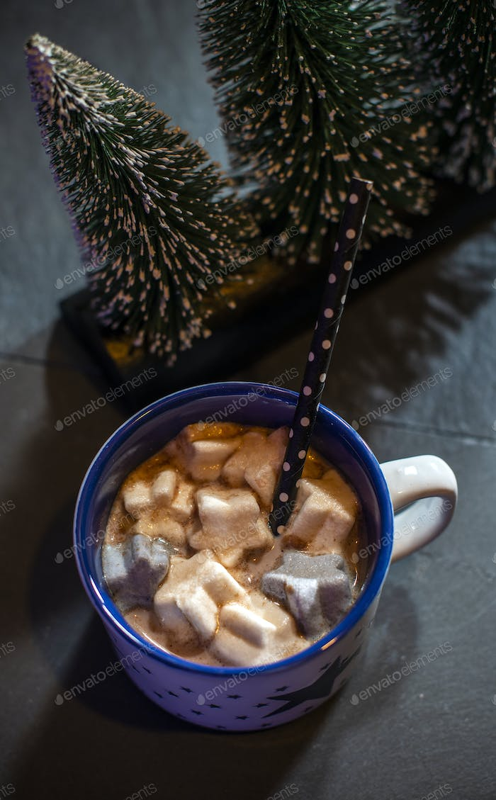 Cup with milk and Marshmallow for christmas