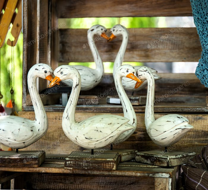 Traditional hand made wooden geese