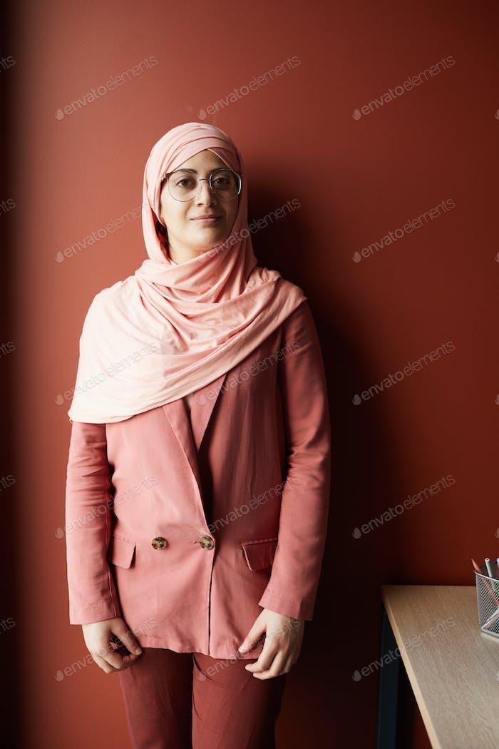 Portrait of Woman Wearing Headscarf in Office