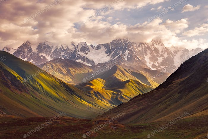 Beautiful mountain range sunrise in Ushguli, Svaneti, Georgia