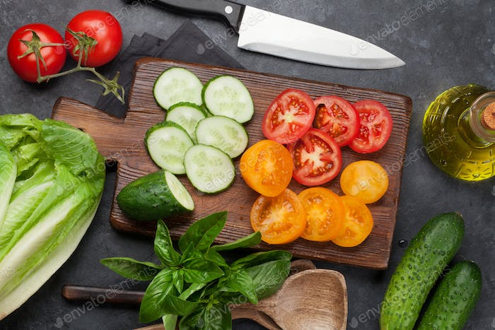 Assorted raw organic vegetables cooking