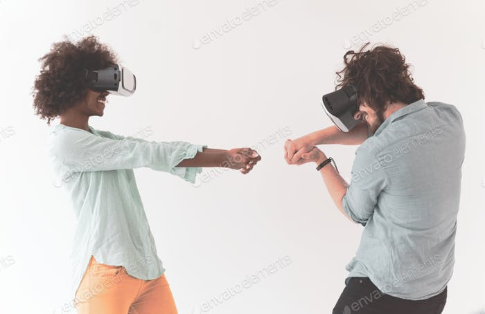 multiethnic couple getting experience using VR headset glasses