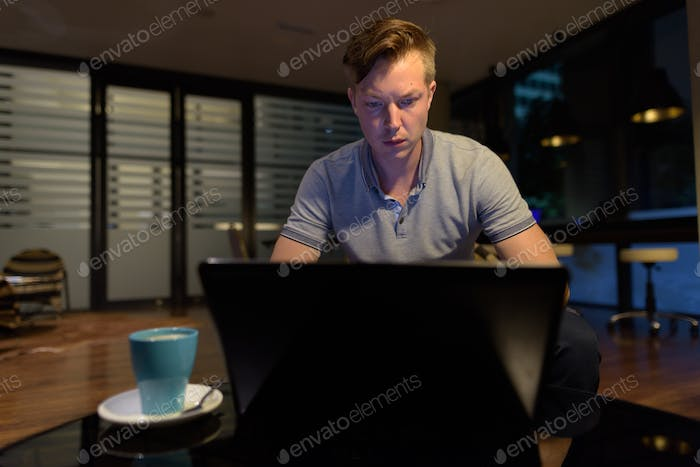 Young handsome man using laptop in the living room