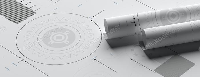Technische Zeichnungen Hintergrund. Maschinenbau, Industriedesign. 3D Illustration