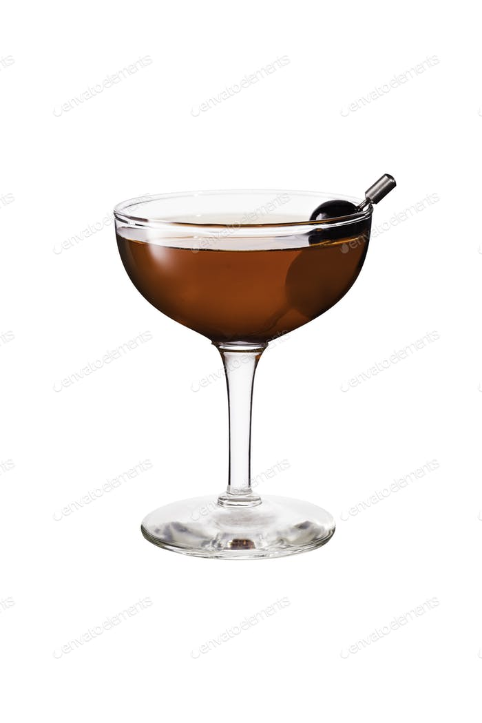 Refreshing Bourbon Manhattan Cocktail on White