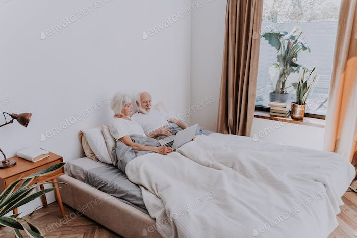 Elderly couple at home with laptop