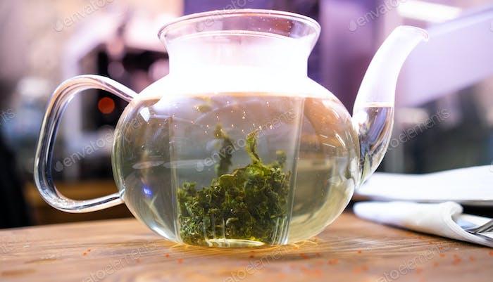 hot green tea glass pot