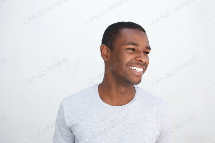 Young african american guy laughing