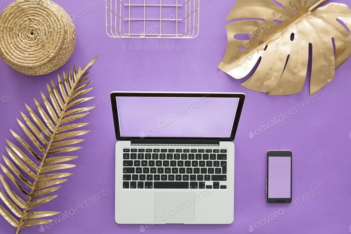Laptop on violet background concept