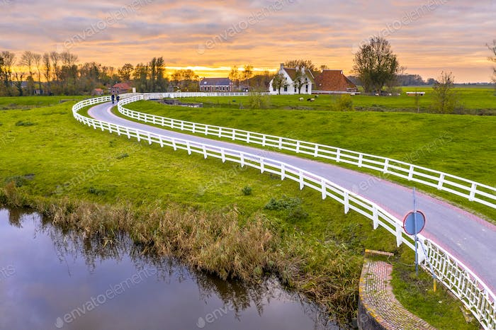Dutch Countryside landscape with historical houses