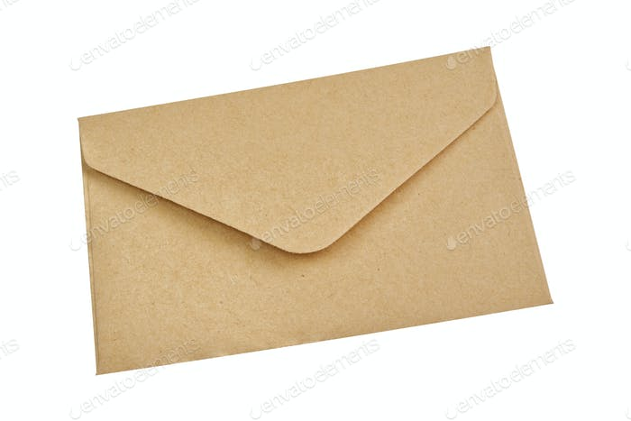 Beige envelope on a white background