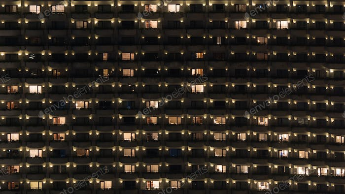 Multistorey block of flats at night