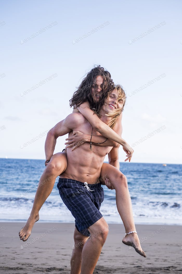 love between young beautiful caucasian man and woman couple