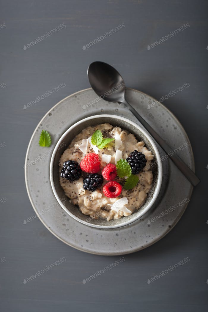 healthy breakfast oatmeal porridge with raspberry blackberry