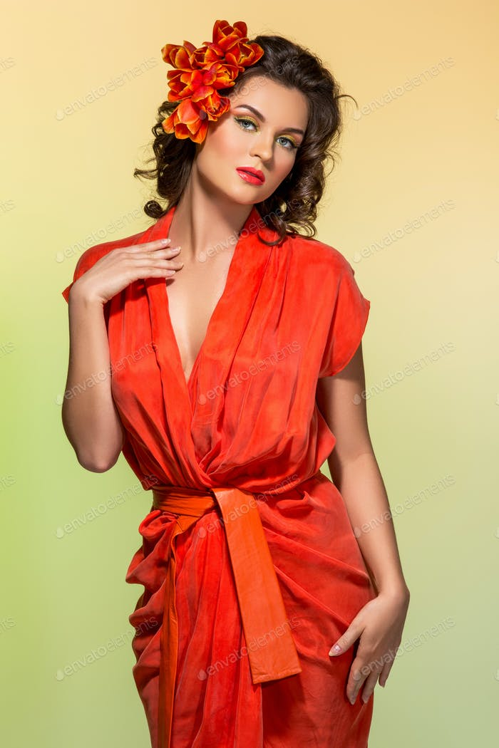 beautiful girl in orange dress