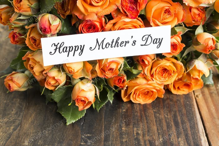 Happy Mother's Day,  Greeting Card,  with Bouquet of Orange Roses
