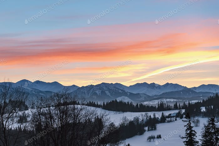 Winter landscape of High Tatra Mountains at dusk