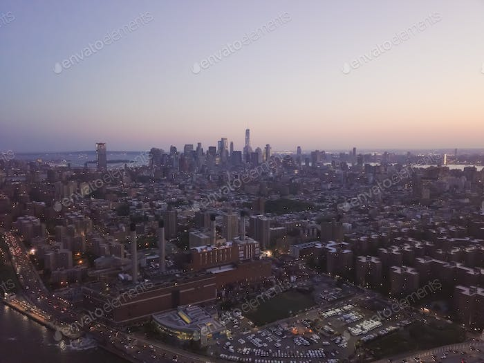 Wide Aerial Drone View of Manhattan Skyline in New York City at Dusk