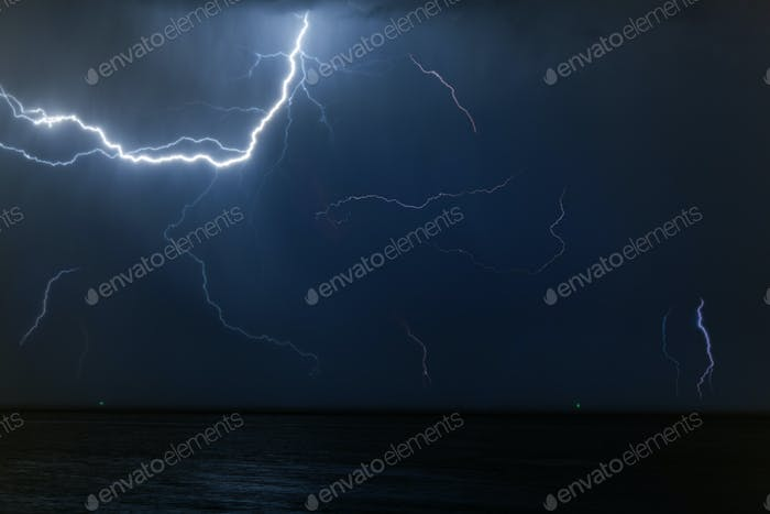 Bolt of lightening in a night sky