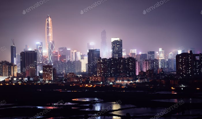 Nightscape of shenzhen city,China