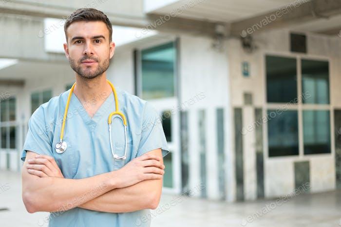 male nurse with stethoscope
