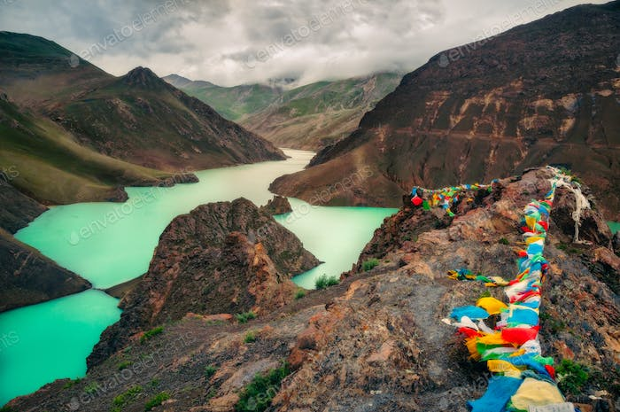 Landscape view of mountains, canyon and turquoise lake, Tibet
