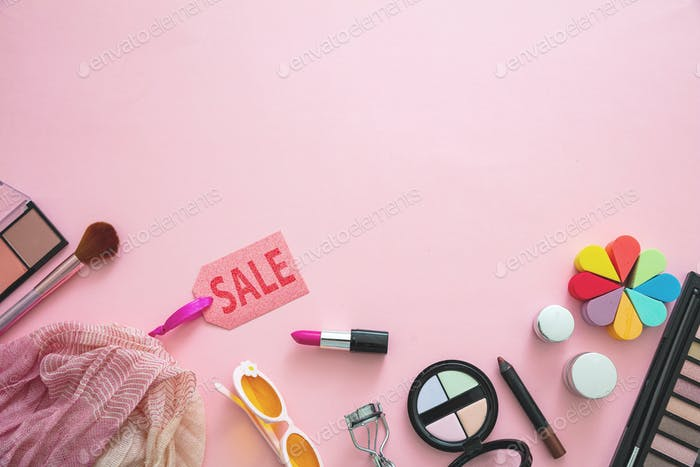 Essentials fashion female accessories against pink color background,