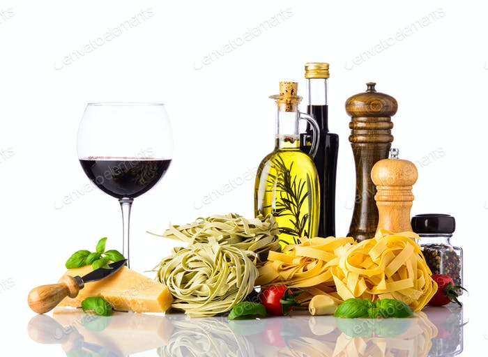 Italian Cuisine Food isolated on White Background