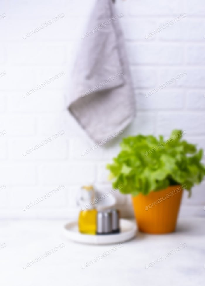 Blurred unfocused light kitchen background