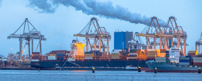 Container ships loading at Europoort tweede maasvlakte harbor
