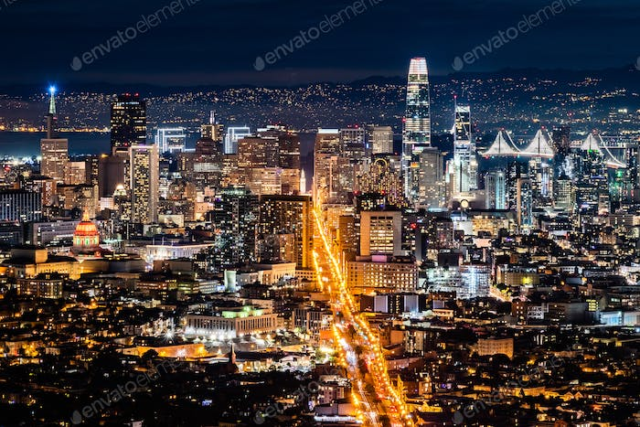 Night view of the Financial District, San Francisco, California