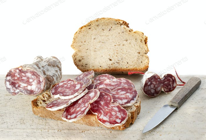 round loaf and saucisson