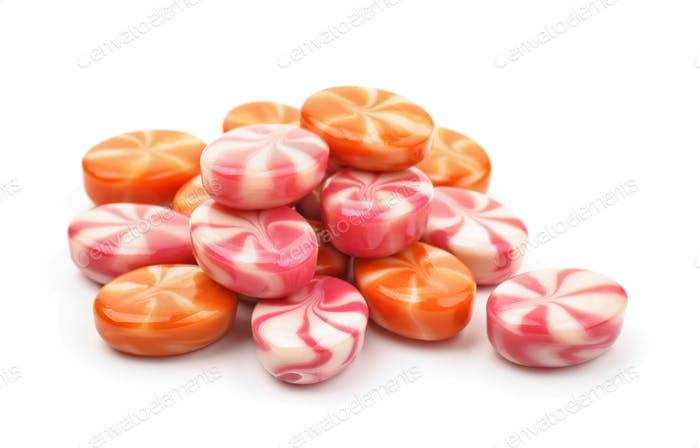 Pile of striped fruit candies