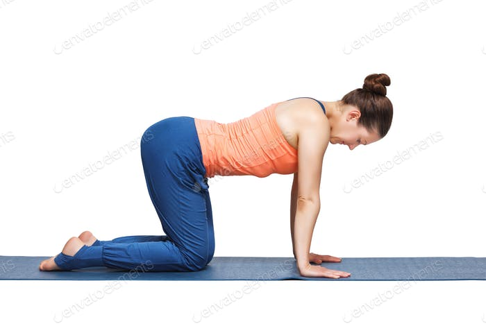 Beautiful sporty fit yogi girl practices yoga asana bitilasana