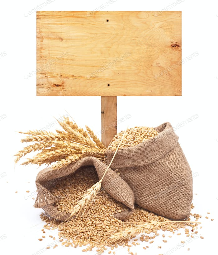 wheat grains with wooden price tag