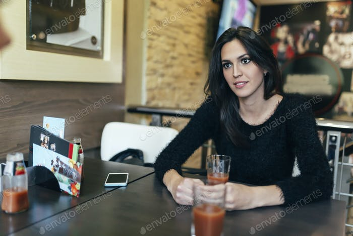 Attractive woman in cafe