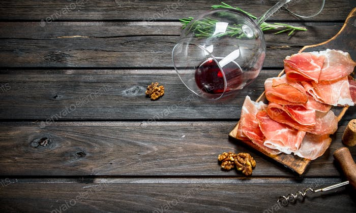 Spanish ham with red wine and nuts.