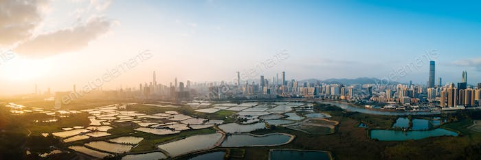 Panorama view of sunset in shenzhen city