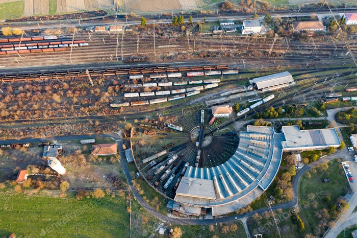 Industrial conceptual scene with trains. Top view.