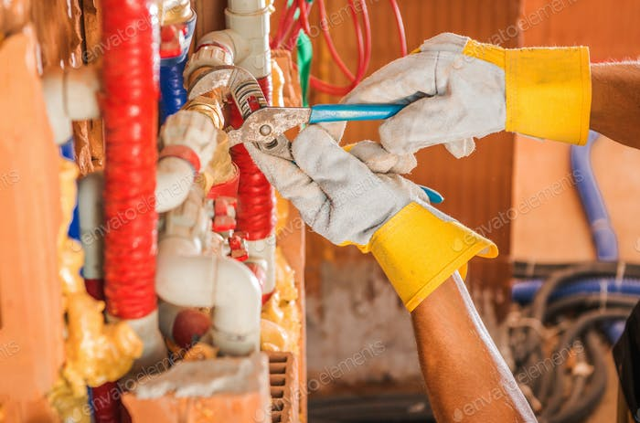 Plumber Finishing Whole New Water Supply System
